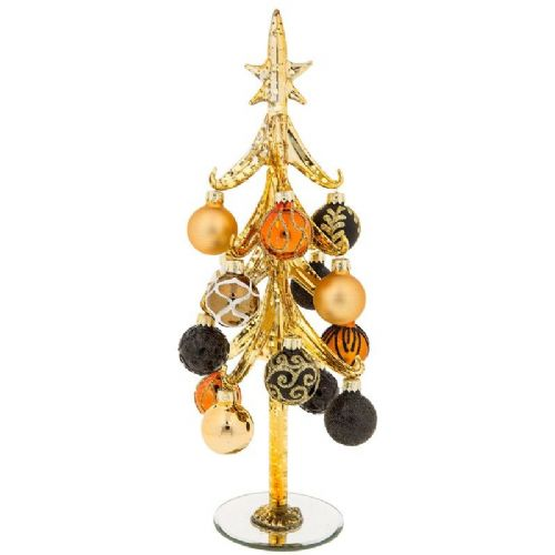 Extra Large Gold Glass Christmas Tree with Gold and Black Baubles